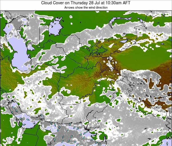 Afghanistan Cloud Cover on Wednesday 29 May at 10:30pm AFT map