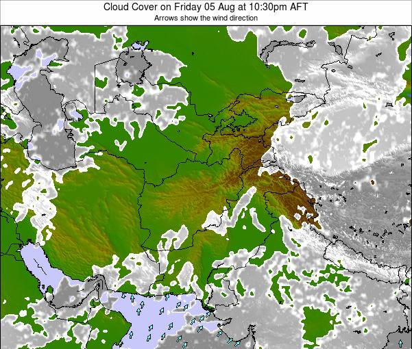 Afghanistan Cloud Cover on Sunday 26 May at 10:30pm AFT map