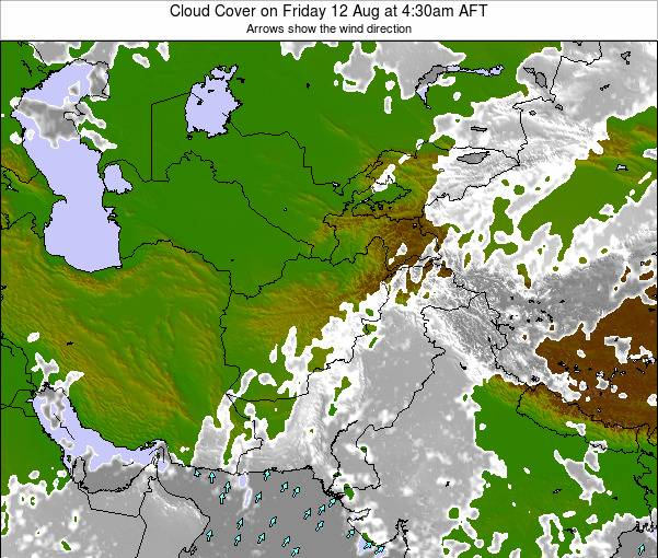 Kyrgyzstan Cloud Cover on Thursday 25 Apr at 4:30am AFT map