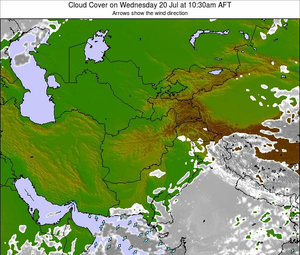 Afghanistan Cloud Cover on Saturday 25 May at 4:30pm AFT map