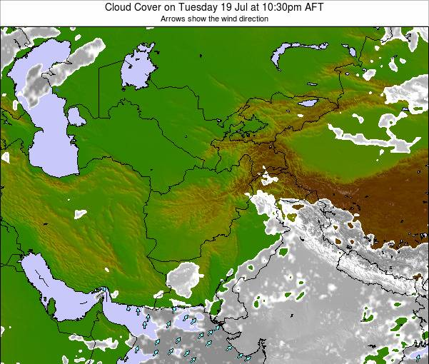 Kyrgyzstan Cloud Cover on Wednesday 01 May at 10:30am AFT map