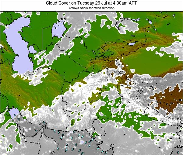 Kyrgyzstan Cloud Cover on Sunday 21 Apr at 4:30am AFT map