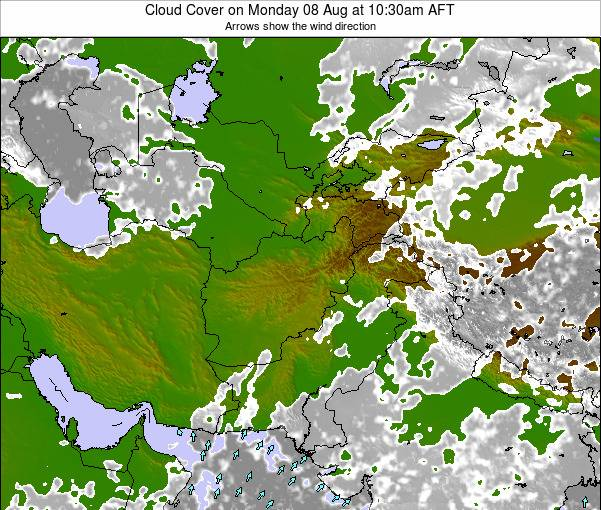 Kyrgyzstan Cloud Cover on Sunday 24 Mar at 4:30pm AFT map