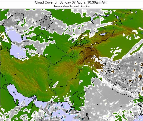 Kyrgyzstan Cloud Cover on Monday 22 Apr at 10:30am AFT map