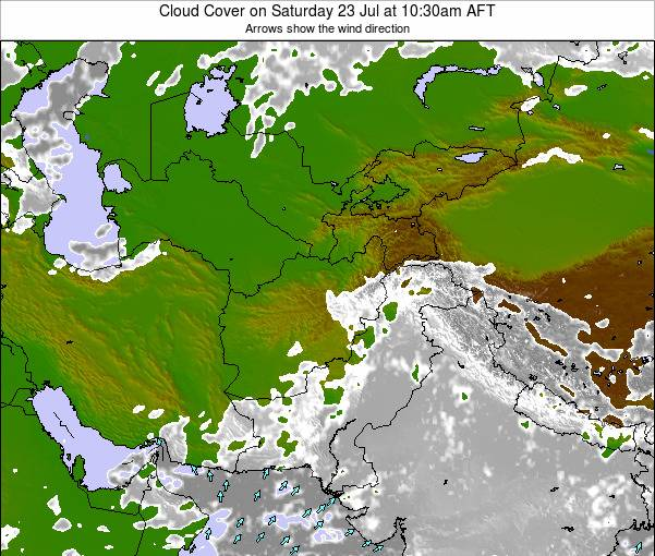 Kyrgyzstan Cloud Cover on Saturday 27 Apr at 10:30pm AFT map