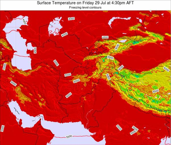 Kyrgyzstan Surface Temperature on Monday 27 May at 4:30pm AFT map