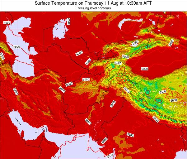 Kyrgyzstan Surface Temperature on Tuesday 28 May at 4:30pm AFT map