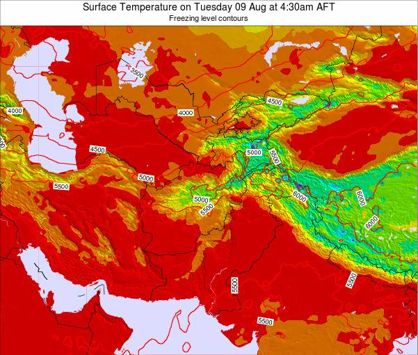 Afghanistan Surface Temperature On Wednesday 29 Aug At 10 30am Aft