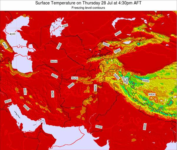 Afghanistan Surface Temperature On Thursday 21 Feb At 4 30pm Aft