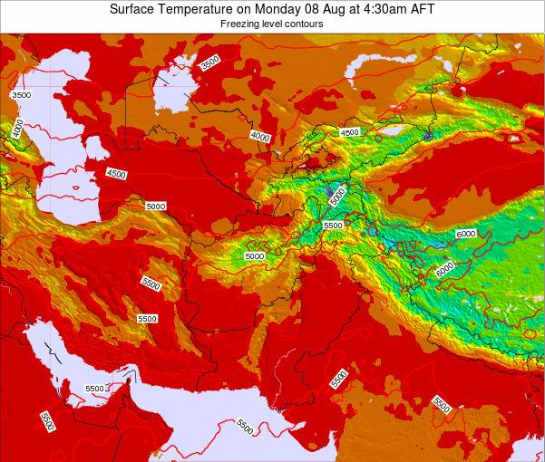 Kyrgyzstan Surface Temperature on Thursday 23 May at 4:30pm AFT map