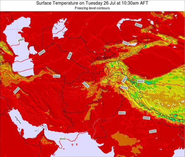 Kyrgyzstan Surface Temperature on Monday 27 May at 10:30am AFT map