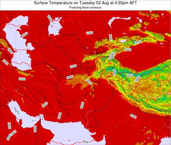 Kyrgyzstan Surface Temperature on Wednesday 22 May at 10:30pm AFT map