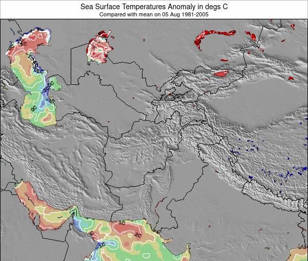 Kyrgyzstan Anomalies de Température de la Mer Carte