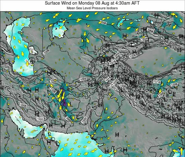 Afghanistan Surface Wind on Wednesday 29 May at 10:30pm AFT map