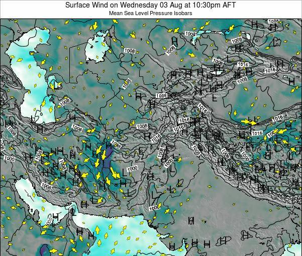 Afghanistan Surface Wind on Wednesday 22 May at 4:30am AFT map