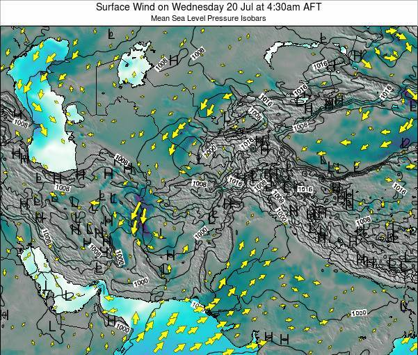 Afghanistan Surface Wind on Monday 24 Jun at 4:30pm AFT map
