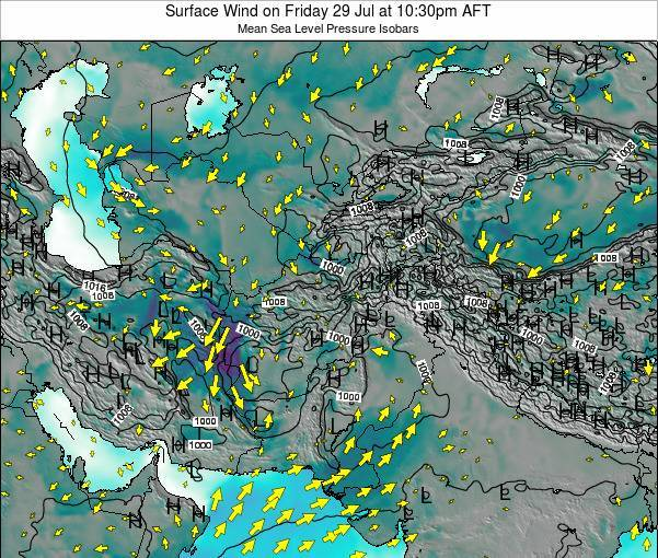 Afghanistan Surface Wind on Monday 27 May at 10:30am AFT map