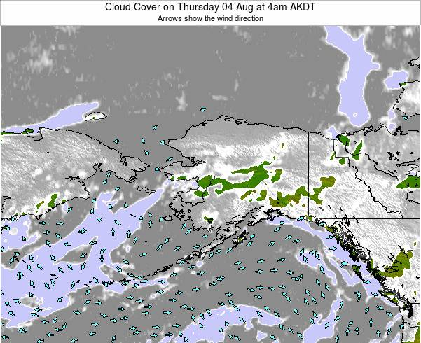 Alaska United States Cloud Cover on Saturday 25 May at 10pm AKDT