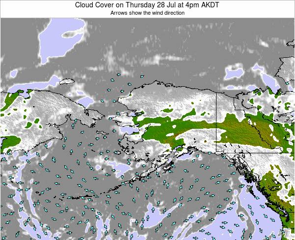 Alaska United States Cloud Cover on Monday 24 Jun at 10am AKDT
