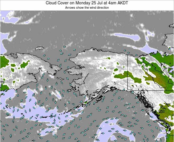 Alaska United States Cloud Cover on Friday 24 May at 4pm AKDT map