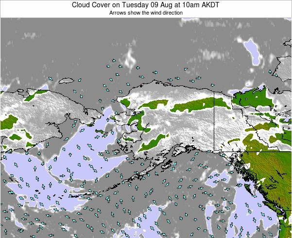 Alaska United States Cloud Cover on Saturday 25 May at 4pm AKDT