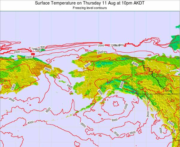 Alaska United States Surface Temperature on Sunday 27 Jul at 10am AKDT map