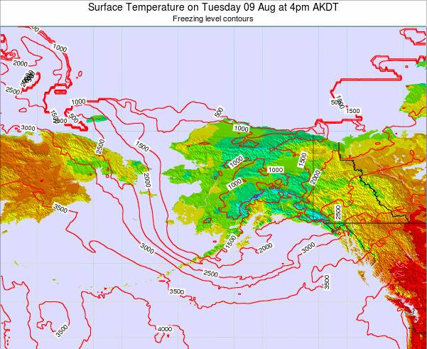 Alaska United States Surface Temperature on Friday 25 Apr at 4am AKDT map
