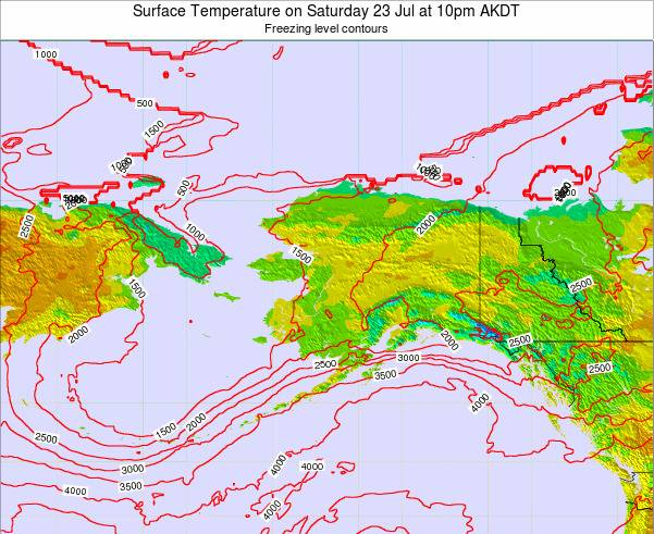 Alaska United States Surface Temperature on Sunday 16 Mar at 10am AKDT map