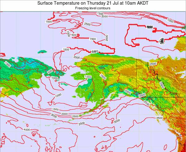 Alaska United States Surface Temperature on Sunday 19 May at 4am AKDT map