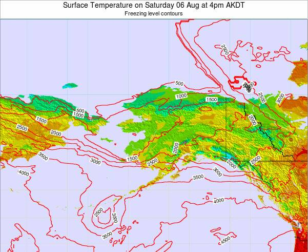 Alaska United States Surface Temperature on Friday 14 Mar at 4am AKDT map