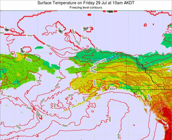 Alaska United States Surface Temperature on Sunday 03 Aug at 10am AKDT map