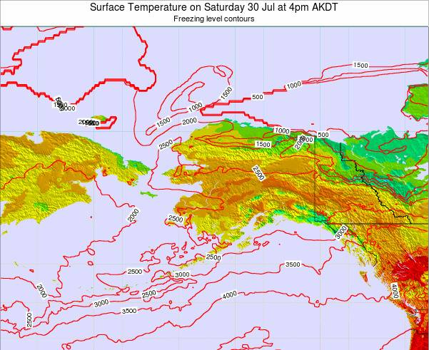 Alaska United States Surface Temperature on Thursday 30 May at 10pm AKDT map