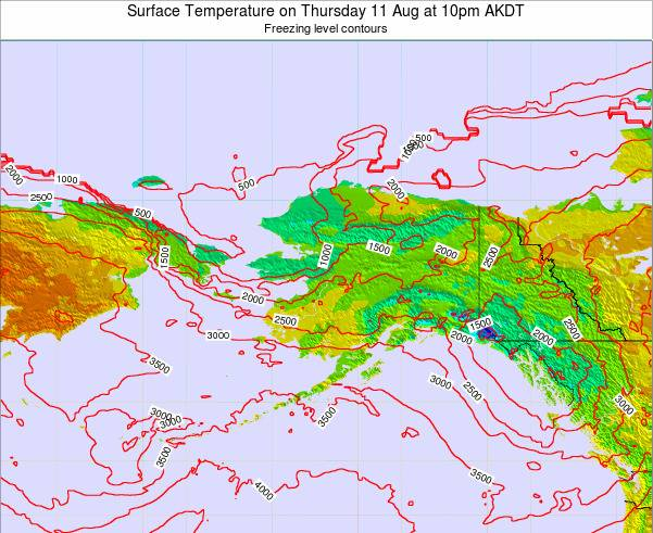 Alaska United States Surface Temperature on Wednesday 30 Apr at 10am AKDT map