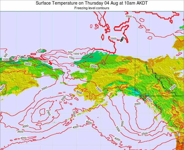 Alaska United States Surface Temperature on Saturday 01 Jun at 4am AKDT map