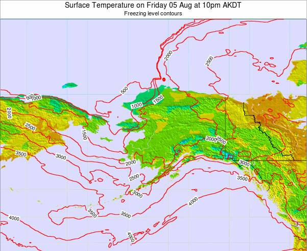Alaska United States Surface Temperature on Saturday 26 Jul at 10am AKDT map