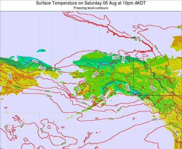 Alaska United States Surface Temperature on Thursday 24 Apr at 10pm AKDT map