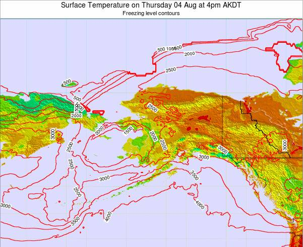 Alaska United States Surface Temperature on Saturday 19 Apr at 10pm AKDT map