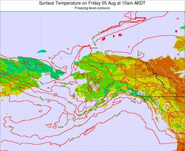Alaska United States Surface Temperature on Sunday 09 Mar at 3am AKST map