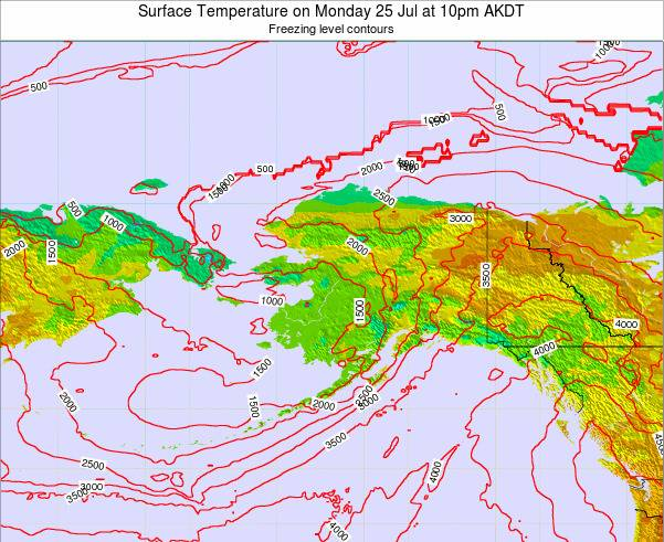 Alaska United States Surface Temperature on Thursday 31 Jul at 4pm AKDT map
