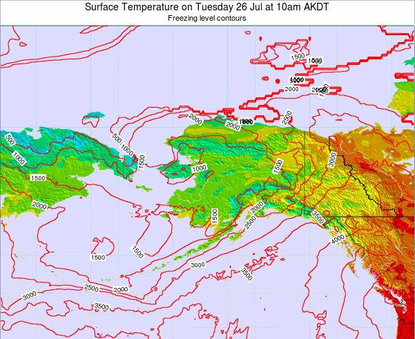 Alaska United States Surface Temperature on Saturday 14 Dec at 3am AKST map