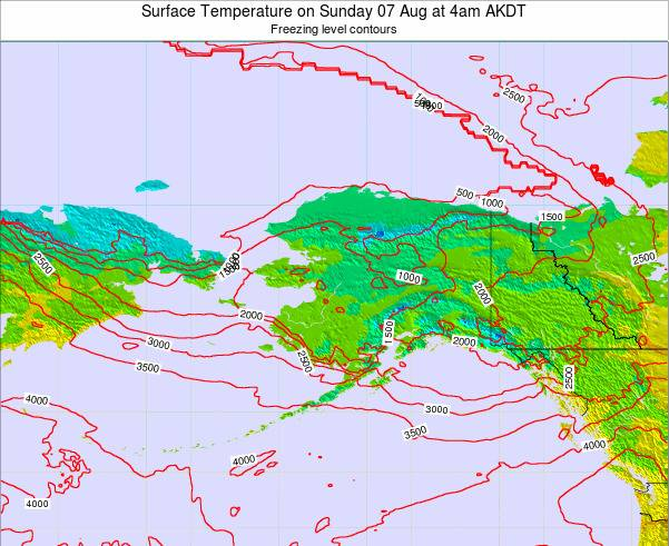 Alaska United States Surface Temperature on Sunday 27 Jul at 4am AKDT map