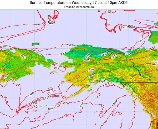 Alaska United States Surface Temperature on Friday 21 Jun at 10pm AKDT map