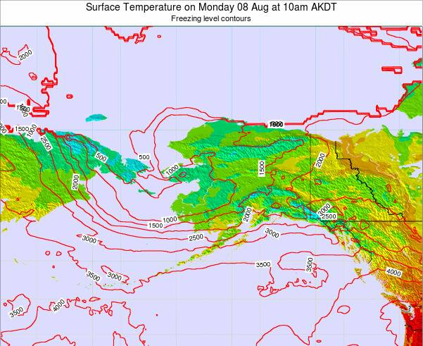 Alaska United States Surface Temperature on Saturday 25 May at 10am AKDT