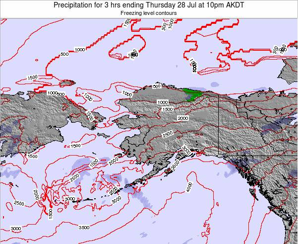 Alaska United States Precipitation for 3 hrs ending Wednesday 12 Mar at 3pm AKST