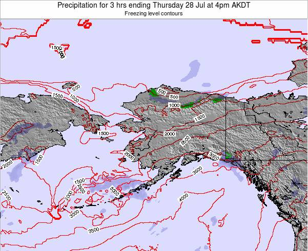 Alaska United States Precipitation for 3 hrs ending Wednesday 30 Jul at 4pm AKDT