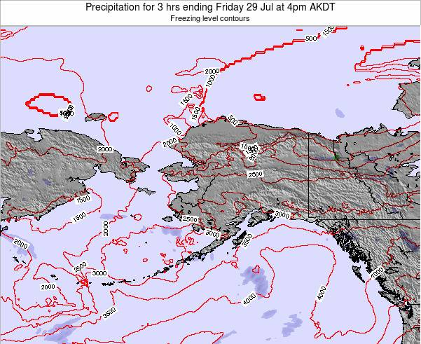 Alaska United States Precipitation for 3 hrs ending Monday 04 Aug at 4pm AKDT
