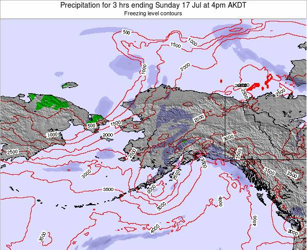 Alaska United States Precipitation for 3 hrs ending Monday 28 Apr at 4am AKDT