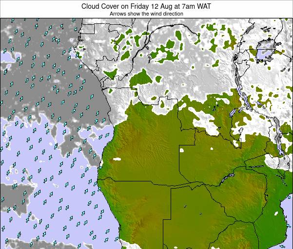 Angola Cloud Cover on Monday 27 May at 1pm WAT