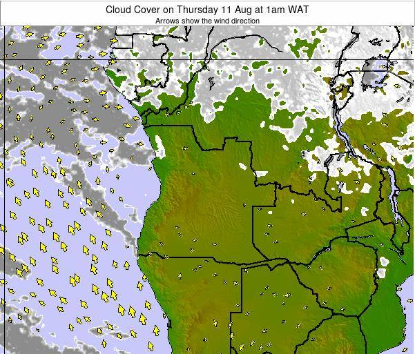 Angola Cloud Cover on Wednesday 29 May at 7am WAT