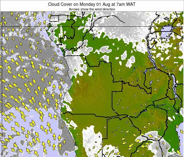 Angola Cloud Cover on Monday 20 May at 7am WAT